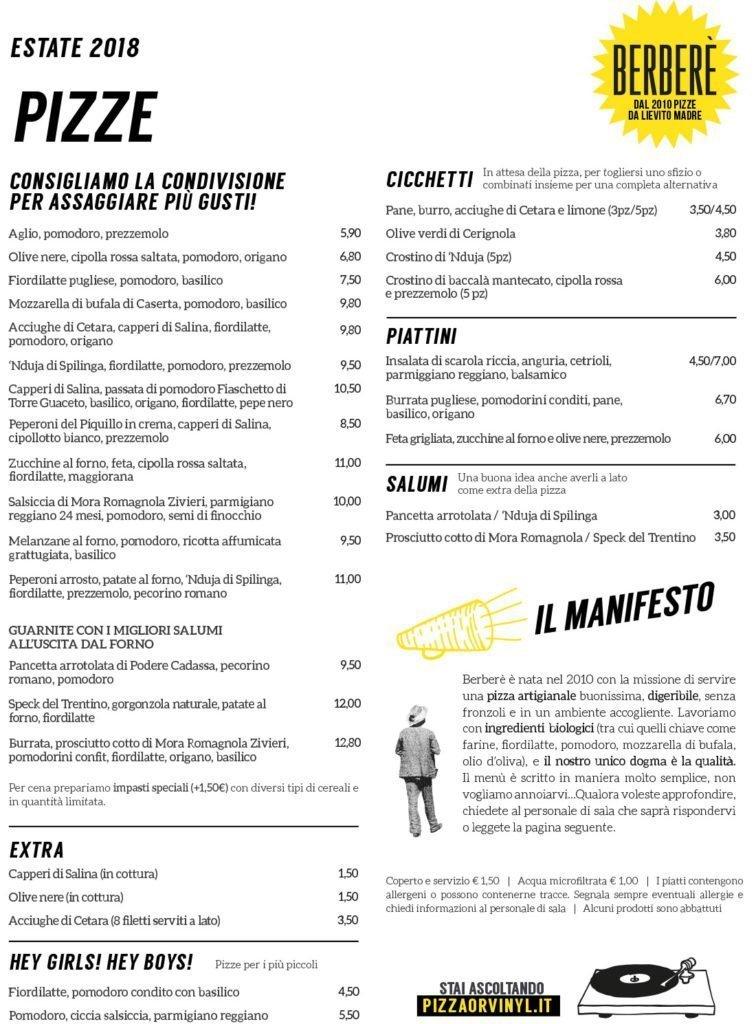 menu estate berbere